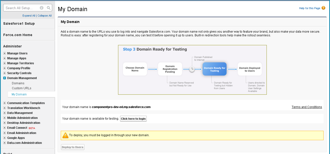 Setting up domain